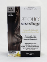 AEQUO Color Cream 4N Cafe Brown  Size: 5.6oz/160ml  Naturally Rebuilds and Strengthens Hair  Complete Hair Coloring Kit With Natural Ingredients  Non-Irritating Formula  100% Grey Coverage  No PPD, No Amonia, No Silicone, No Parabens, No Resorcinol  One Application      Instruction:  Mix the colorant cream with the color devolper in the application bottle. Shake the mixture for 2 minutes until totally blended. Immediatly apply the total mixture on dry hair. Wait for 20 minutes. Rinse hair with a lot of water until it runs clear, then wash your hair with the color fixing shampoo. Spray the Resturcturing Serum on damp hair to seal in the color and complete the process. Use 2 to 3 times a week between colorations.