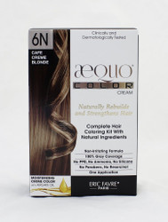 AEQUO Color Cream 6N Cafe Creme Blonde  Size: 5.6oz/160ml  Naturally Rebuilds and Strengthens Hair  Complete Hair Coloring Kit With Natural Ingredients  Non-Irritating Formula  100% Grey Coverage  No PPD, No Amonia, No Silicone, No Parabens, No Resorcinol  One Application      Instruction:  Mix the colorant cream with the color devolper in the application bottle. Shake the mixture for 2 minutes until totally blended. Immediatly apply the total mixture on dry hair. Wait for 20 minutes. Rinse hair with a lot of water until it runs clear, then wash your hair with the color fixing shampoo. Spray the Resturcturing Serum on damp hair to seal in the color and complete the process. Use 2 to 3 times a week between colorations.