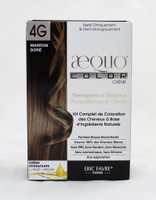 AEQUO Color Cream 4G Marron Dore  Size: 5.6oz/160ml  Naturally Rebuilds and Strengthens Hair  Complete Hair Coloring Kit With Natural Ingredients  Non-Irritating Formula  100% Grey Coverage  No PPD, No Amonia, No Silicone, No Parabens, No Resorcinol  One Application      Instruction:  Mix the colorant cream with the color devolper in the application bottle. Shake the mixture for 2 minutes until totally blended. Immediatly apply the total mixture on dry hair. Wait for 20 minutes. Rinse hair with a lot of water until it runs clear, then wash your hair with the color fixing shampoo. Spray the Resturcturing Serum on damp hair to seal in the color and complete the process. Use 2 to 3 times a week between colorations.