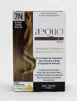 AEQUO Color Cream 7N Blond Creme Brulee  Size: 5.6oz/160ml  Naturally Rebuilds and Strengthens Hair  Complete Hair Coloring Kit With Natural Ingredients  Non-Irritating Formula  100% Grey Coverage  No PPD, No Amonia, No Silicone, No Parabens, No Resorcinol  One Application      Instruction:  Mix the colorant cream with the color devolper in the application bottle. Shake the mixture for 2 minutes until totally blended. Immediatly apply the total mixture on dry hair. Wait for 20 minutes. Rinse hair with a lot of water until it runs clear, then wash your hair with the color fixing shampoo. Spray the Resturcturing Serum on damp hair to seal in the color and complete the process. Use 2 to 3 times a week between colorations