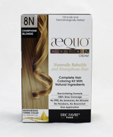 AEQUO Color Cream 8N Champagne  Size: 5.6oz/160ml  Naturally Rebuilds and Strengthens Hair  Complete Hair Coloring Kit With Natural Ingredients  Non-Irritating Formula  100% Grey Coverage  No PPD, No Amonia, No Silicone, No Parabens, No Resorcinol  One Application      Instruction:  Mix the colorant cream with the color devolper in the application bottle. Shake the mixture for 2 minutes until totally blended. Immediatly apply the total mixture on dry hair. Wait for 20 minutes. Rinse hair with a lot of water until it runs clear, then wash your hair with the color fixing shampoo. Spray the Resturcturing Serum on damp hair to seal in the color and complete the process. Use 2 to 3 times a week between colorations