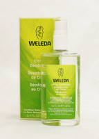 WELEDA Citrus Deodorant   refreshing and zesty natural deodorant  Size: 3.4oz  Residual odor from naturally detoxified skin gets neutralized and freshened with this zesty deodorant.  It's an effective, non-aerosol spray that invigorates and refreshes as it eliminates the sources of unpleasant body odor.  Lemon peel oil has invigorating properties and also serves as a purifying disinfectant.  With no risky antiperspirants such as aluminum salts, your body's natural detoxification process is supported while bacteria that cause unpleasant odors are neutralized.  Instruction:  Apply Citrus Deodorant as often as needed throughout the day.