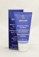 WELEDA Moisture Cream for Men  cares and refreshes  Size: 1.0oz  Dry, toughened skin gets hydrated and refined day or night with this light, powerful cream. It's a lightweight cream that absorbs quickly to lock in moisture, ease skin tightness and leave your skin touchably soft.  Improve your skin's smooth elasticity with organic jojoba seed oil, a deep moisturizer and effective emollient. Marshmallow root extract soothes your skin and calms irritation. Your face feels comfortably soft and smooth, with skin that's nourished and relaxed. Looking good so naturally has never been this easy.  Instruction:  Apply Moisture Cream in the morning and evening to shaved skin on the face and neck, and gently massage in. Use only as much Moisture Cream as the skin can easily absorb. This cream is ideal for use after shaving with our Shaving Cream and applying Smooth Shave Toner and/or After Shave Balm.