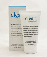 PHILOSOPHY Clear Days Ahead  Size: 2oz  lear days ahead oil-free salicylic acid acne treatment & moisturizer helps clear skin, while delivering breathable, oil-free hydration for completely clear skin.  features & benefits:  antimicrobial formula immediately begins to eliminate acne-causing bacteria salicylic acid and oligopeptide-10 help keep skin clear provides oil control for a beautiful matte finish  Instruction:  cleanse the skin thoroughly before applying medication. cover the entire affected area with a thin layer 1-3 times daily. because excessive drying of the skin may occur, start with 1 application daily, then gradually increase to 2-3 times daily if needed or as directed by a doctor. if bothersome dryness or peeling occurs, reduce application to once a day or every other day.