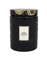 Voluspa Large Embossed Glass Jar w/ Metallic Lid Candle MOSO BAMBOO, 16 oz.