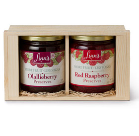 Linn's Big Gift Box of Berries Two 18 oz. Jars Fruit Preserves Wood Box