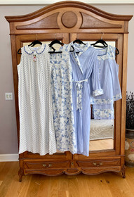 Left to Right, Mini Dot Nighty, Sweet Georgia Nighty, Sweet Georgia Dressing Gown, Sweet Georgia Pajama available from April Cornell.