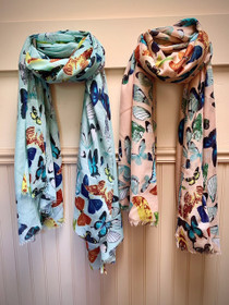 Butterfly Scarf in Turquoise Blue or Blush Pink Color - Ships Free