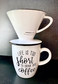 Life is Too Short to Drink Bad Coffee Percolator for One with Cup - Ships Free