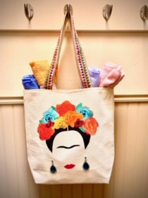 Frida Tote in Canvas with Ribbon Handles and Earrings - Ships Free