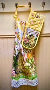 Cute oven glove and apron combination.
