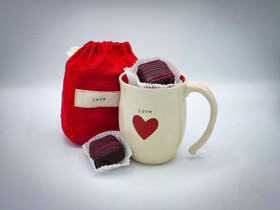 Dark Chocolate Olallieberry  Cream Truffles, Raspberry Hot Cocoa  & Love Mug Gift Set