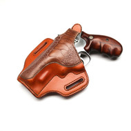 This is a Revolver holster with Ostrich Leg accent.  This is one of our nicer holsters and was made for one of the partners here.  We can do brown or black in Ostrich Leg.