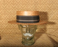 SOLD! Vintage Authentic Early 1900's Men's Classic Straw Boater Hat - Medium Size