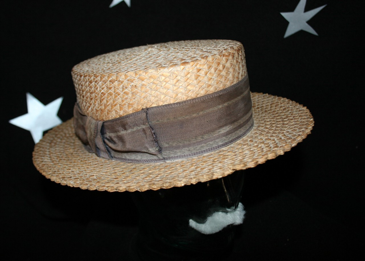 c66f267ed7fb0 SOLD - Vintage Authentic Early 1900 s Men s Classic Straw Boater Hat ...
