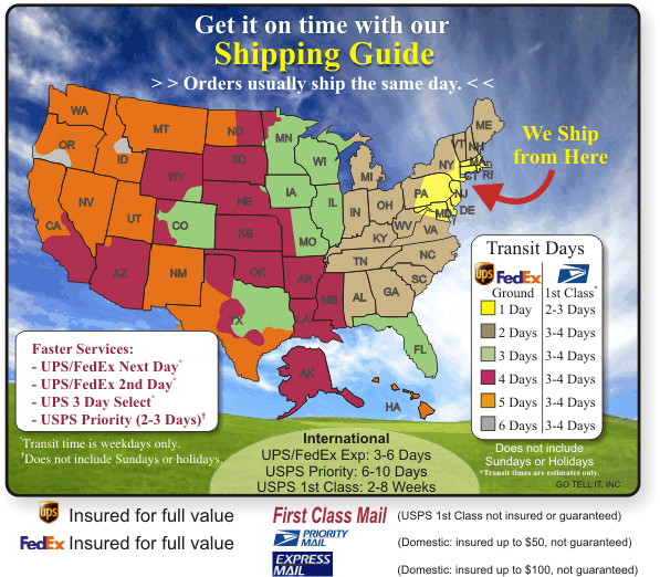 Shipping And Returns UPS And USPS Shipping Map And Times - Ups Service Map Of The Us
