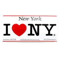 I Love NY license plate, aluminum, tin I Love NY car plate