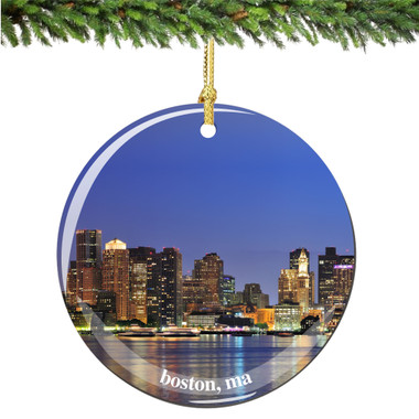 Porcelain Boston Christmas Ornament