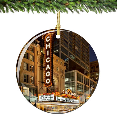 Porcelain Chicago Christmas Ornament