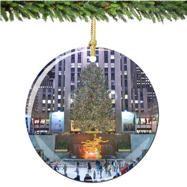 Porcelain Rockefeller Center Christmas Ornament