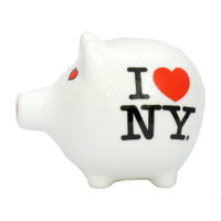 I Love NY Ceramic Piggy Bank Souvenir