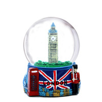 Landmarks and Big Ben London Snow Globe with Union Jack Flag