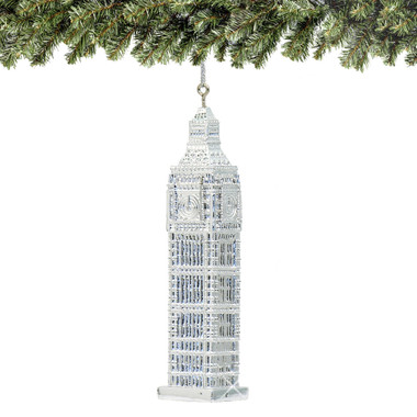 Silver Big Ben Christmas Ornament