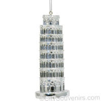 Silver Leaning Tower of Pisa Ornament