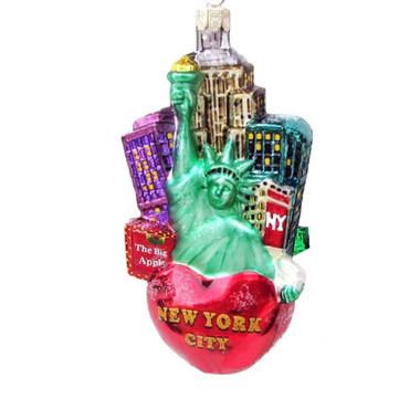 Glass Big Apple New York City Christmas Ornament