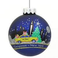New York City skyline and taxi Christmas ornament, glass ball
