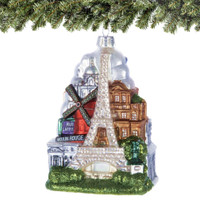 Glass Paris Eiffel Tower Christmas Ornament