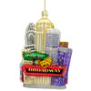 Glass New York City Tour Bus Christmas Ornament