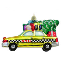 Glass NYC Taxi Christmas Ornament