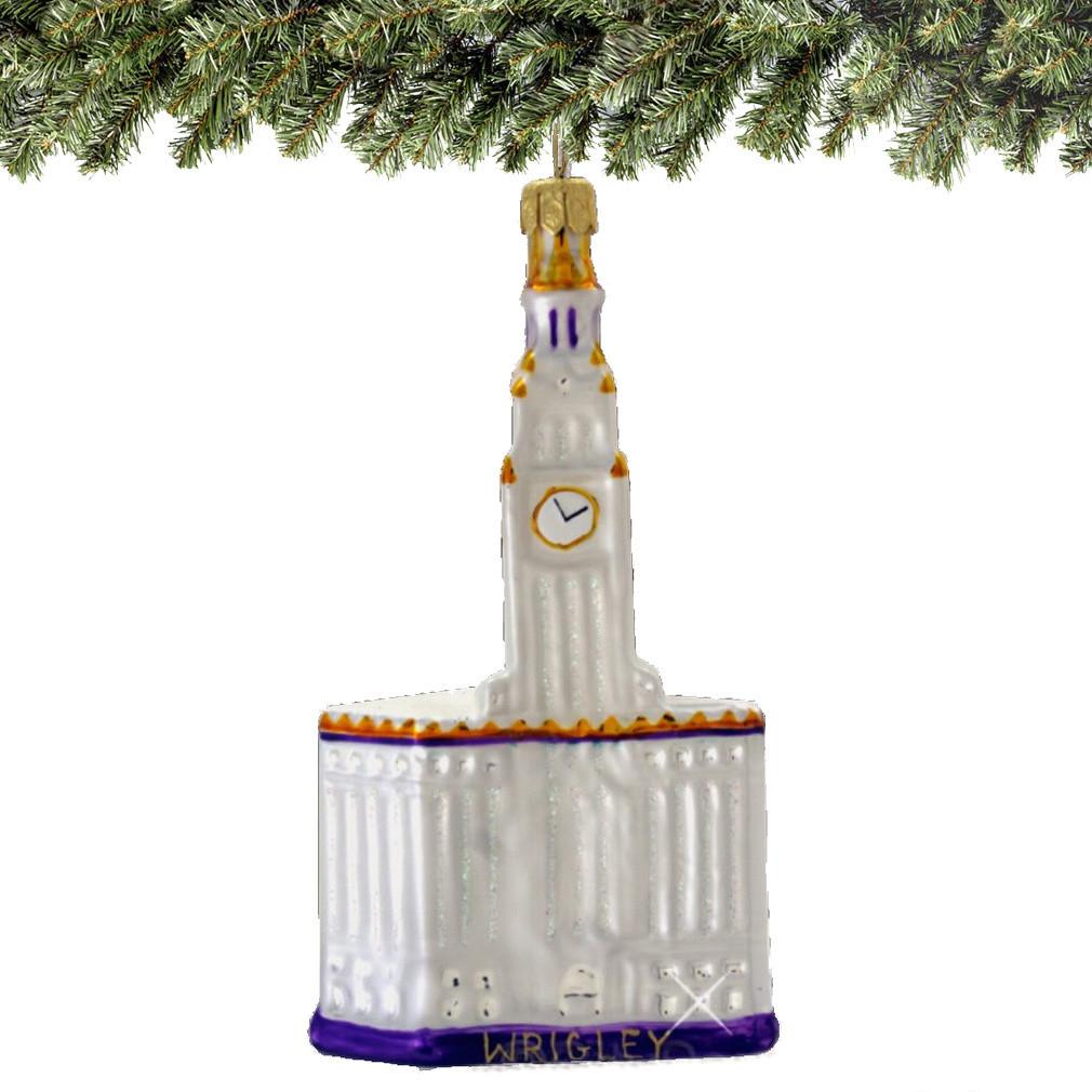 Commercial Christmas Decorations Florida: Chicago's Wrigley Building Glass Ornament