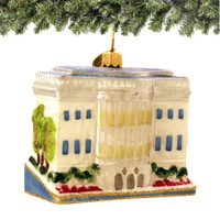 Glass DC White House Christmas Ornament