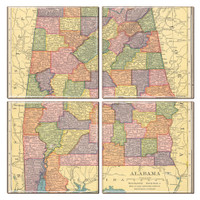 Alabama Map Coaster Set of 4