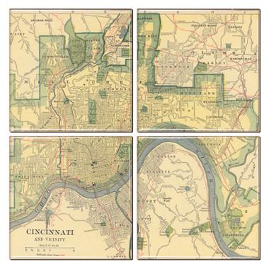 Cincinnati Map Coaster Set of 4