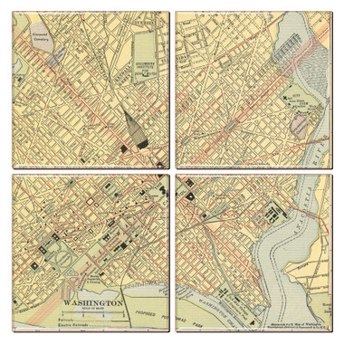 DC Map Coaster Set of 4