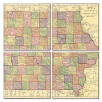Iowa Map Coaster Set of 4