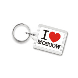 I Love Moscow Plastic Key Chain
