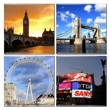 London Coaster Set of 4 Featuring Big Ben, London Tower Bridge, London Eye and Piccadilly Circus.