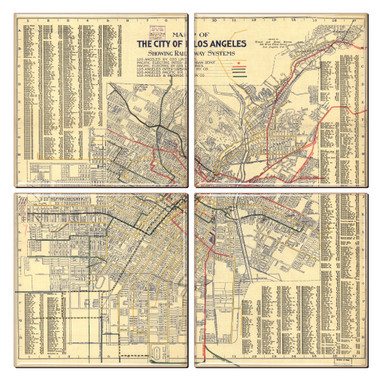 Los Angeles Map Coaster Set of 4