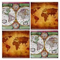 Antique World Map Coaster