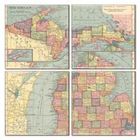 Michigan Map Coaster Set of 4