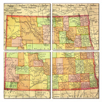 North Dakota Map Coaster Set of 4