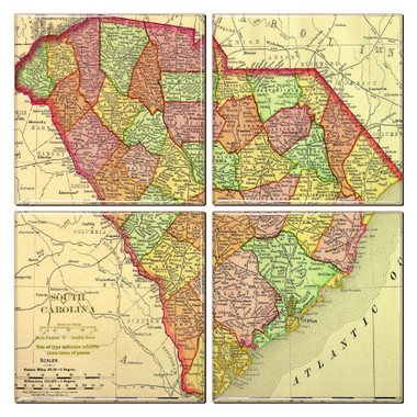 South Carolina Map Coaster Set of 4