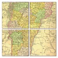 Vermont Map Coaster Set of 4