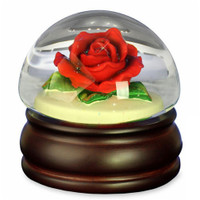 Musical Red Rose Snow Globe