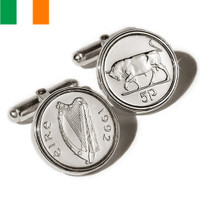 Sterling Silver Irish Cufflinks Coins