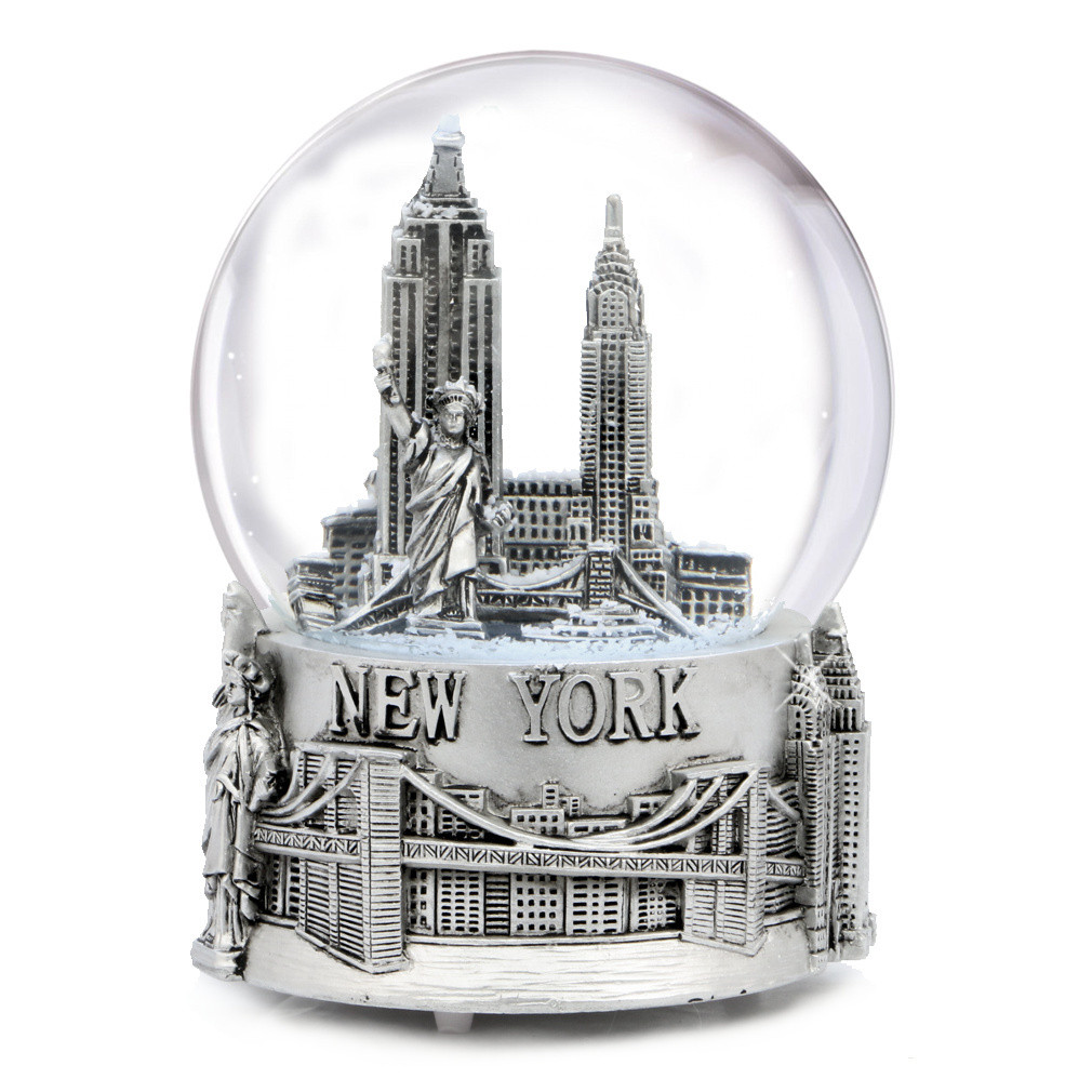 Musical Silver New York City Skyline Snow Globe Souvenir